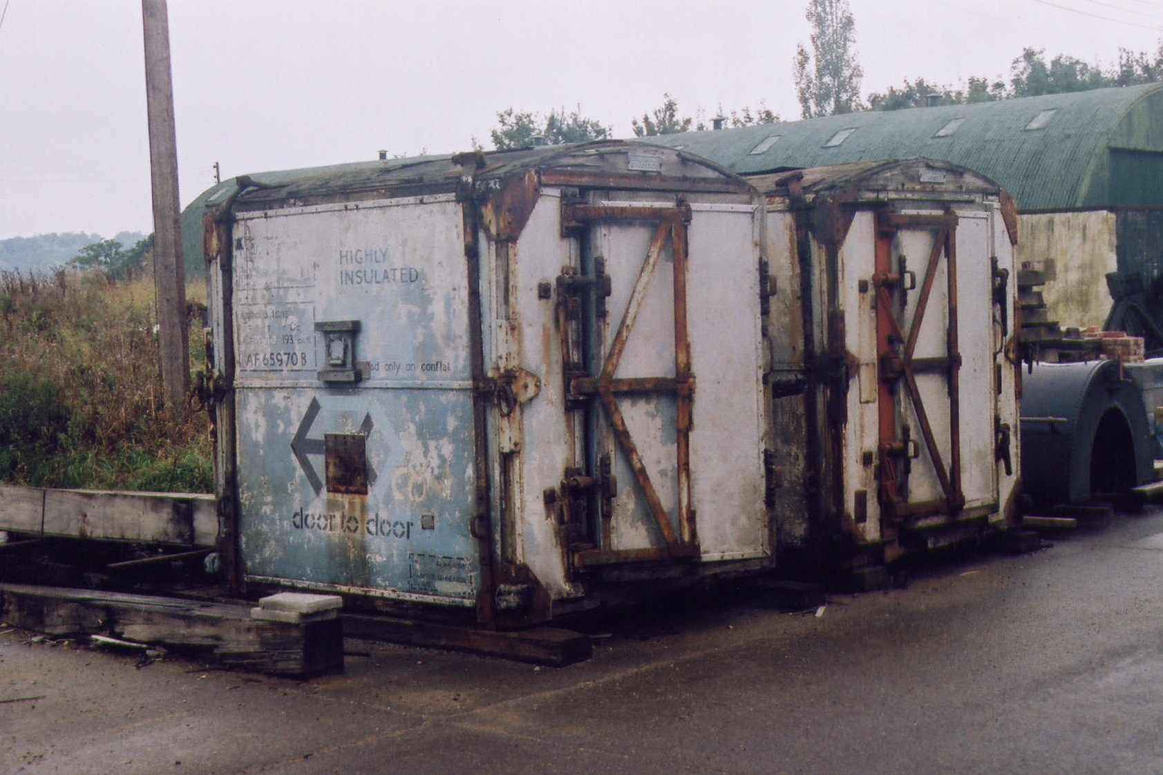 Insulated Containers awaiting restoration outside Buffer Depot