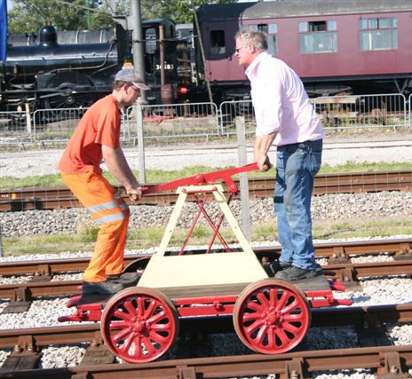 Pump trolley in action at the east anglian railway museum youtube.