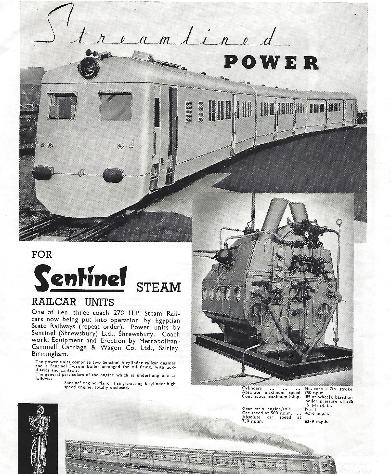 A contemporary advert for the Sentinel Egyptian Steam Multiple Units